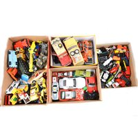 Lot 129-Diecast model cars and vehicles, Corgi and other makers, from the 1970s and 1980s, all loose, in four trays.
