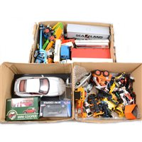 Lot 109-Three small boxes of diecast models, including examples by Corgi, Britains, Matchbox and others.
