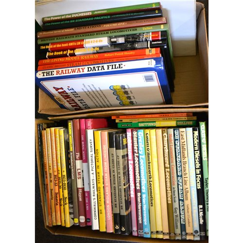 Lot 72-Large quantity of reference book, magazines and DVDs, about trains, locomotives and railways, a collection in seven boxes.