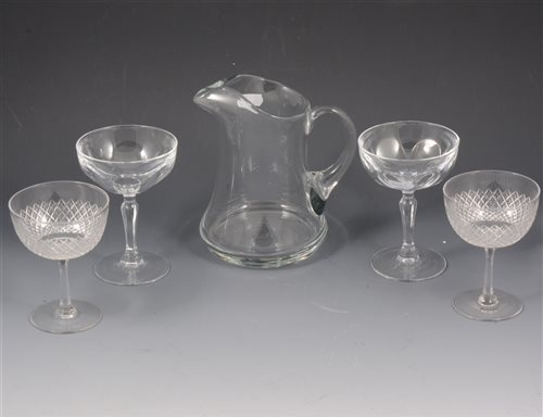 Lot 43-Collection of glasses, including wine glasses, tumblers, cut glass, etc, three boxes.