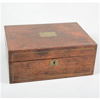 Lot 87-Victorian rosewood jewel box, brass cartouche to the lid and matching escutcheon to the key hold.