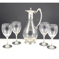 Lot 56-A French wine carafe and set of six glasses, with white metal mount and stems; and small selection of glassware. (11).