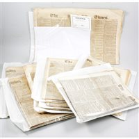Lot 101-POSTAL HISTORY: Approximately 50 copies of 19th Century The Times newspaper relating to Postal Service announcements
