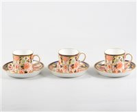 Lot 35-Set of six Royal Crown Derby coffee cans and saucers, Imari pattern number 6041, (12).