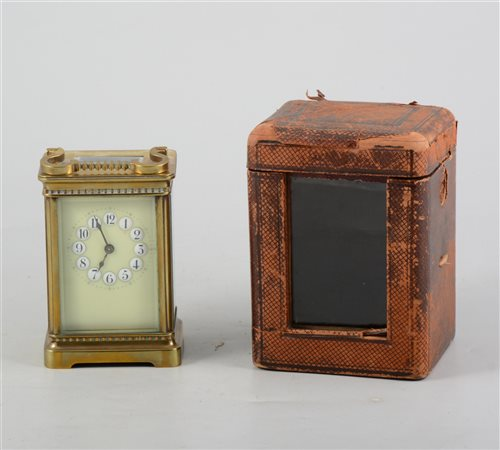 Brass cased carriage clock, enamelled dial, non striking movement, 12cm...