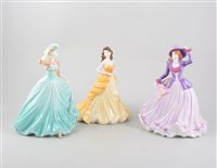 Lot 47-A collection of Coalport figures, comprising Classic Elegance collection 'Hilary', 'In My Heart' and 'Many Happy Returns', Sentiments collection 'Summer Fete' and 'Good Luck', Ladies of Fashion col...