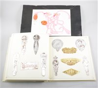 Lot 95-A Pink Panther animation art cell; and a folder of embossed card samples (2)