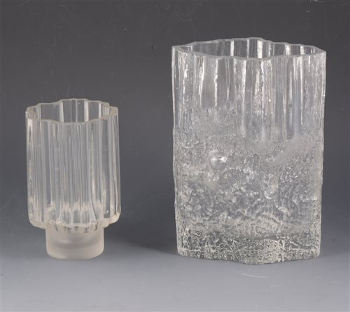 Lot 36-Two glass vases by Tapio Wirkkala, 'Pinus' signed TW, 23cm and another marked with a crown and R, 16cm, (2).