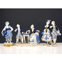 Lot 38-Dresden style porcelain figures, including coaches and horses, pair playing chess, courting couples, etc, (8)