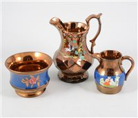 Lot 42-Collection of Victorian copper lustre pottery