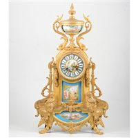 Lot 115-French gilt spelter mantel clock, blue Sevres style panels painted with figures.