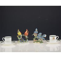 "Lot 40-A Wedgwood ""House of Commons"" boxed coffee set, Beswick birds, and other ceramics."