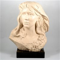 Lot 109-A bust of a long-haired girl by Austin Sculpture, 49cm high)
