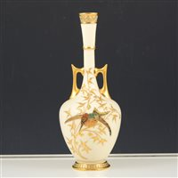 Lot 13-A Royal Worcester Persian-shape twin handled vase.