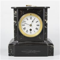 Lot 69-French black marble mantel clock, white enamelled dial with Roman numerals, cylinder movement, 23cm.
