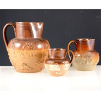 Lot 15-Three Staffordshire salt glaze stoneware jugs (3).
