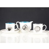 "Lot 11-A Susie Cooper ""Black Fruit"" eight person coffee set."
