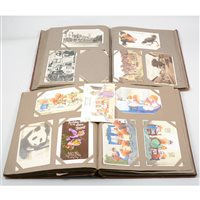 Lot 98-Four albums of early 20th Century and later postcards, greetings cards, cigarette cards, etc.