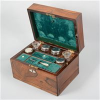 Lot 66-A lady's rosewood fitted travelling box.