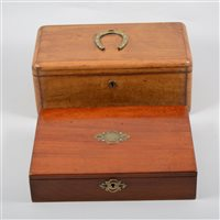 Lot 71-An olive wood twin compartment box and a small mahogany writing box with lift out tray (2)