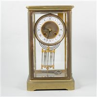 Lot 89-French brass four glass mantel clock, Japy Freres movement striking on a gong, circa 1900