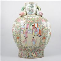 Lot 26-Modern Chinese famille rose vase, decorated with figures, birds and foliage, 42cm.