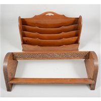 Lot 84-A mahogany correspondence rack, and a carved oak book rack (2)