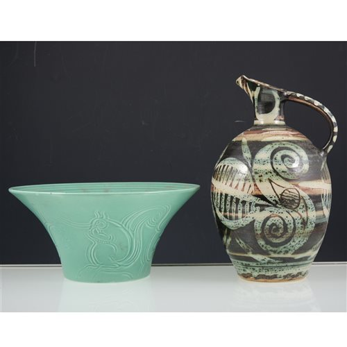 Lot 29-Susie Cooper studio ware bowl with incised Squirrel design, and three art pottery items.