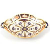 Lot 49-Royal Crown Derby Old Imari pattern dessert dish with two handles, 'Derby 1924', 28cm wide .