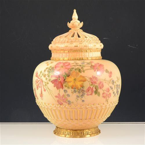 Lot 22-Royal Worcester pot-pourri lidded vase, blush ivory ground with floral and gilt decoration.