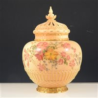 Lot 22-Royal Worcester pot-pourri lidded vase, blush ivory ground with floral and gilt decoration.