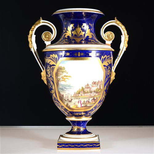 Lot 1-Bloor Derby twin handle urn vase, painted with a view of Constantinople
