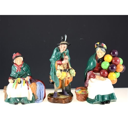 Lot 2-Three Royal Doulton figures, Balloon Seller HN1315, Silks and Ribbons HN2017 and The Mask Seller HN2103, (3).