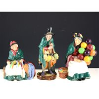 Lot 2-Three Royal Doulton figures, Balloon Seller HN1315, Silks and Ribbons HN2017 and The Mask Seller HN2103, (3).