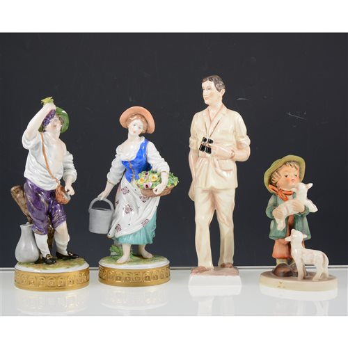 Lot 9-Pair Dresden figures, Royal Doulton cat, Goebel boy figure, Coalport HRH Prince of Wales, and other porcelain figures, (6).