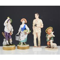Lot 9A-Pair Dresden figures, Royal Doulton cat, Goebel boy figure, Coalport HRH Prince of Wales, and other porcelain figures, (6).