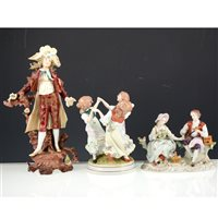 Lot 21-Nine assorted continental porcelain figures.