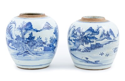 Lot 58-Chinese blue and white porcelain jar, probably late Imperial