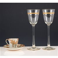 Lot 28-Four wine glasses and a Japanese egg-shell porcelain part coffee set