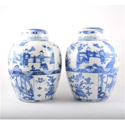Lot 59-Near pair of Chinese blue and white jars and covers, bearing Kangxi six character marks