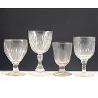 Lot 12-A collection of seven 19th century glass drinking vessels.