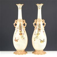Lot 20-Pair of Locke and Co. Worcester ornamental vases.