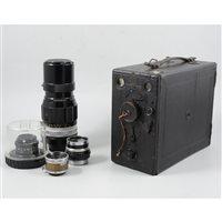 Lot 84-A collection of cameras and equipment, including a Craven drop box camera, a Nikon lens and a Tamron lens (2 boxes)