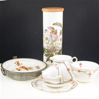 "Lot 35-Three trays of ceramics, a Wellington bone china floral tea service, an ""English Prince of Wales"" baby warming dish"