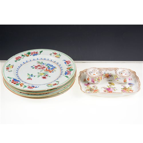 Lot 47-Four Chinese famille rose plates, 19th Century, floral decoration, diameter 23cm and a Dresden encrier, painted with floral sprays, width 19cm.