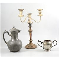 Lot 139-A mixed quantity of silver plate, pewter and stainless steel, to include teapots, sugar bowls, fruit bowl, candelabra, candlesticks, a pewter jug, and a stainless steel hip flask.