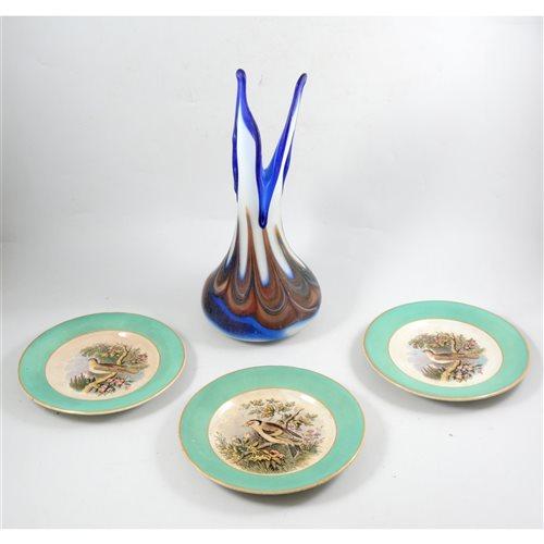 Lot 62-Studio glass vase together with three Pratt ware plates.