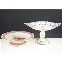 Lot 54-Pair of Royal Worcester comports, dated 1876, decorated with sprays of wild flowers, diameter 24cm and a Coalport part dessert service, (7).