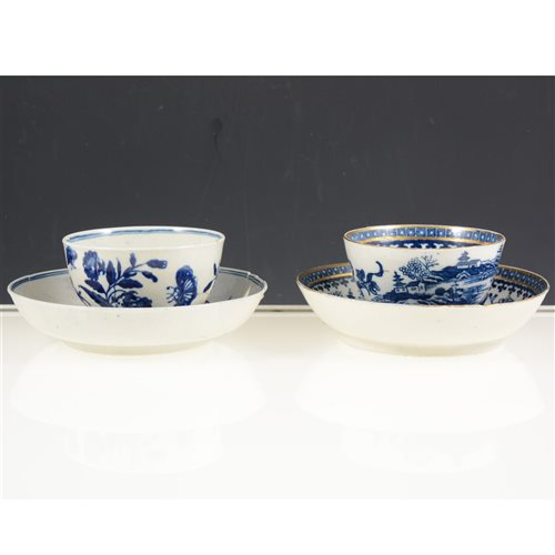 Lot 18-First period Worcester tea bowl and saucer,; and a Caughley Fisherman pattern tea bowl and saucer, [4]