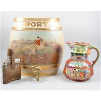 """Lot 111-Pair of Staffordshire pottery barrels, """"Port"""" and """"Special Extra Scotch"""" each printed with a hunting scene, 33cm, a Masons Ironstone hydra jug, and a hip flask with tots, (4)."""
